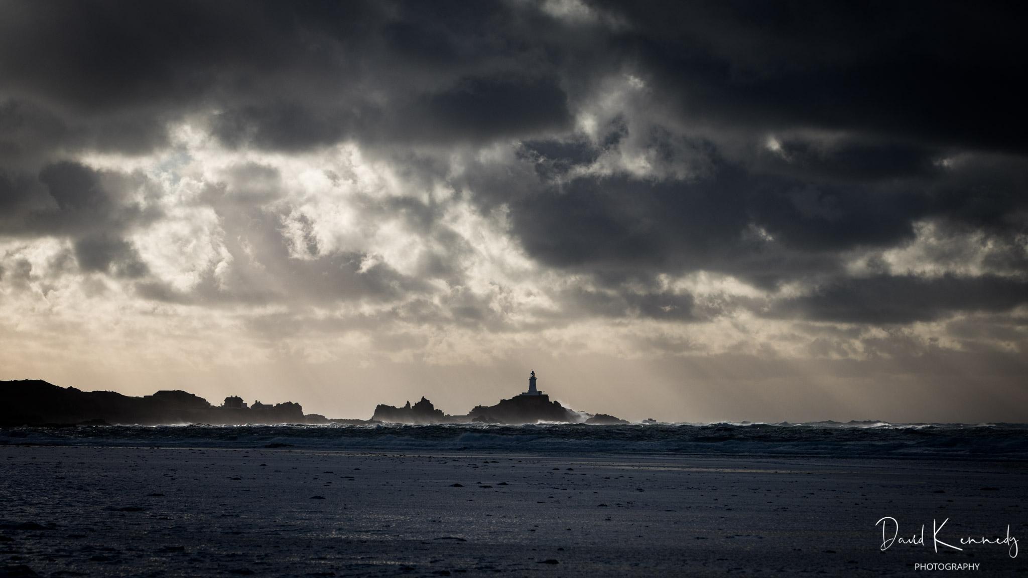 A dramatic seascape and sky