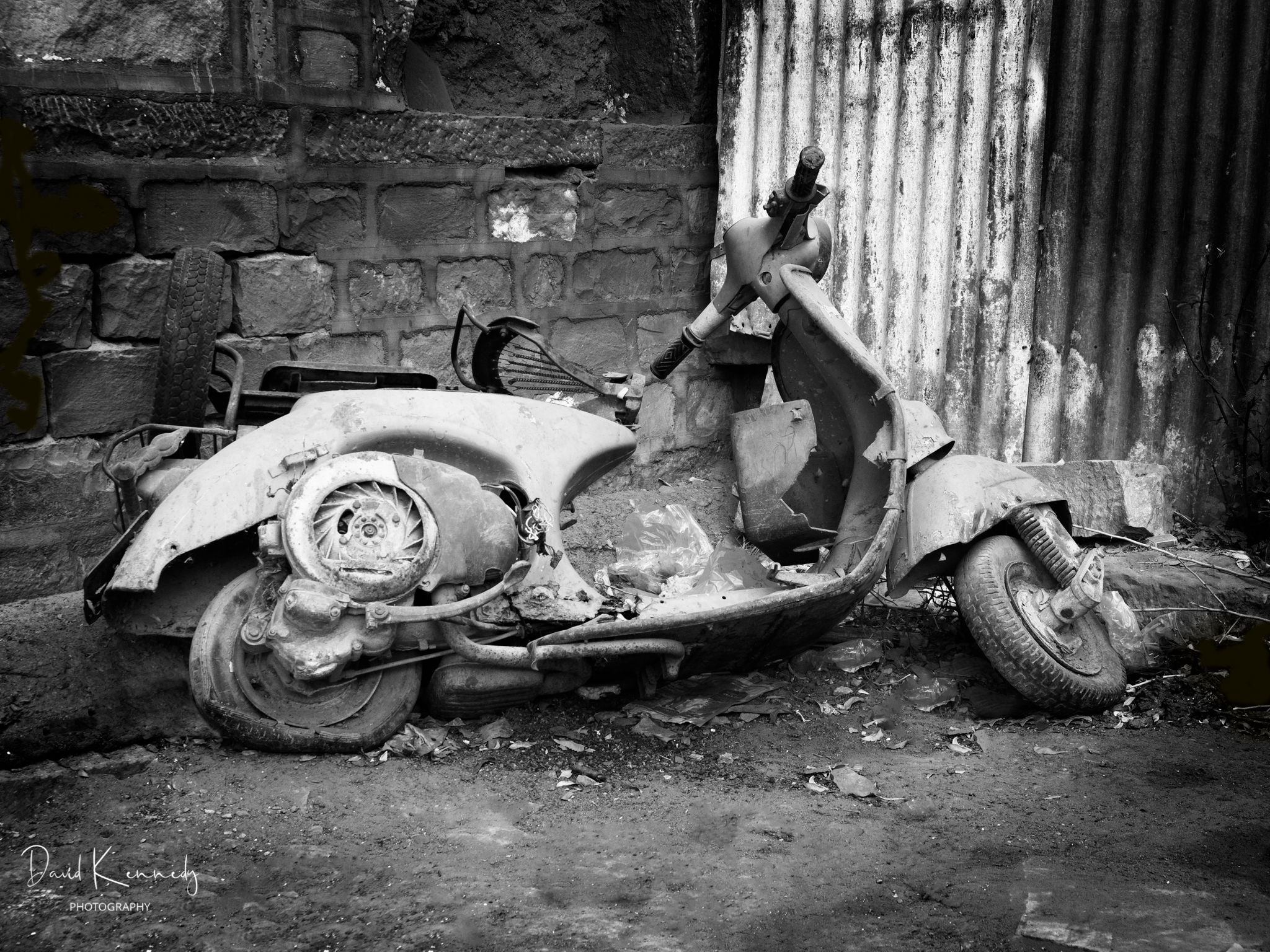 Abandoned and wrecked scooter