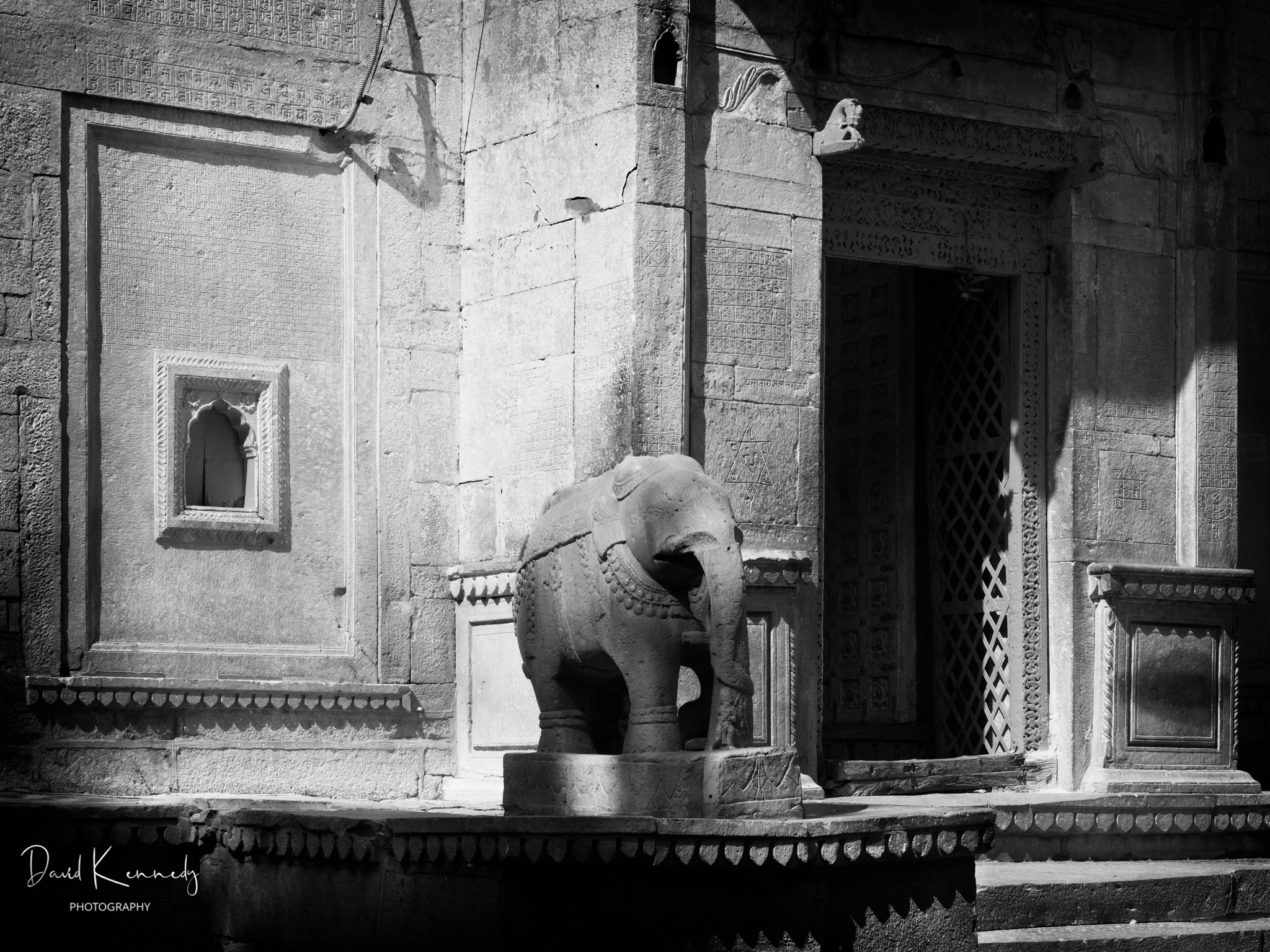 Entrance to a temple with elephant statue in India