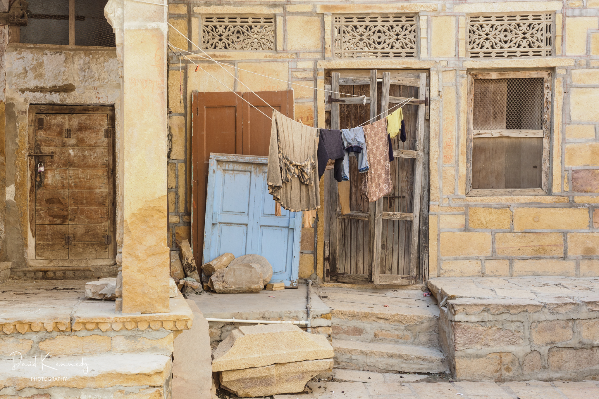 Washing on the line outside a house in the Old Fort at Jaisalmer