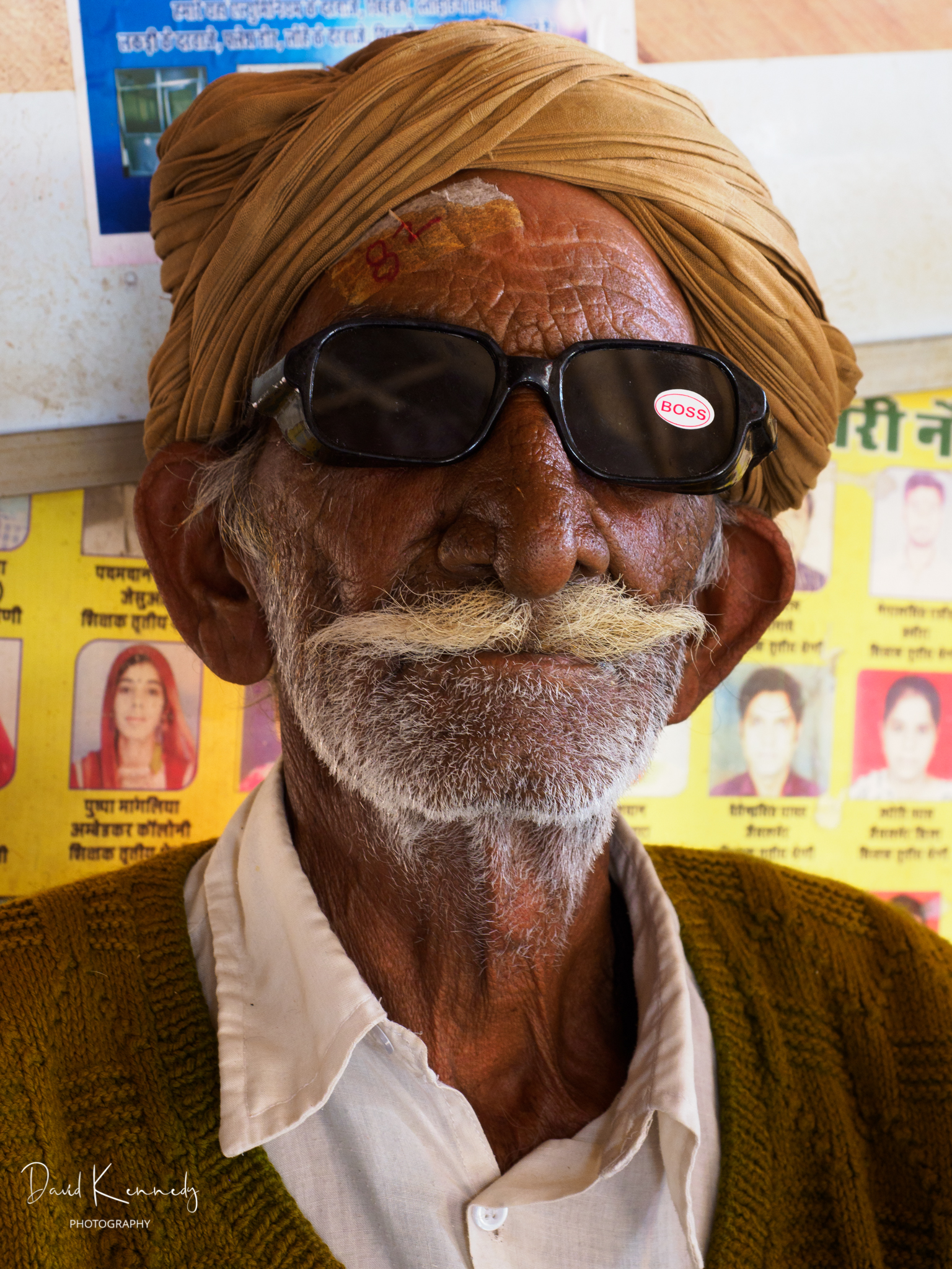 Man in turban with sunglasses after cataract surgery in India