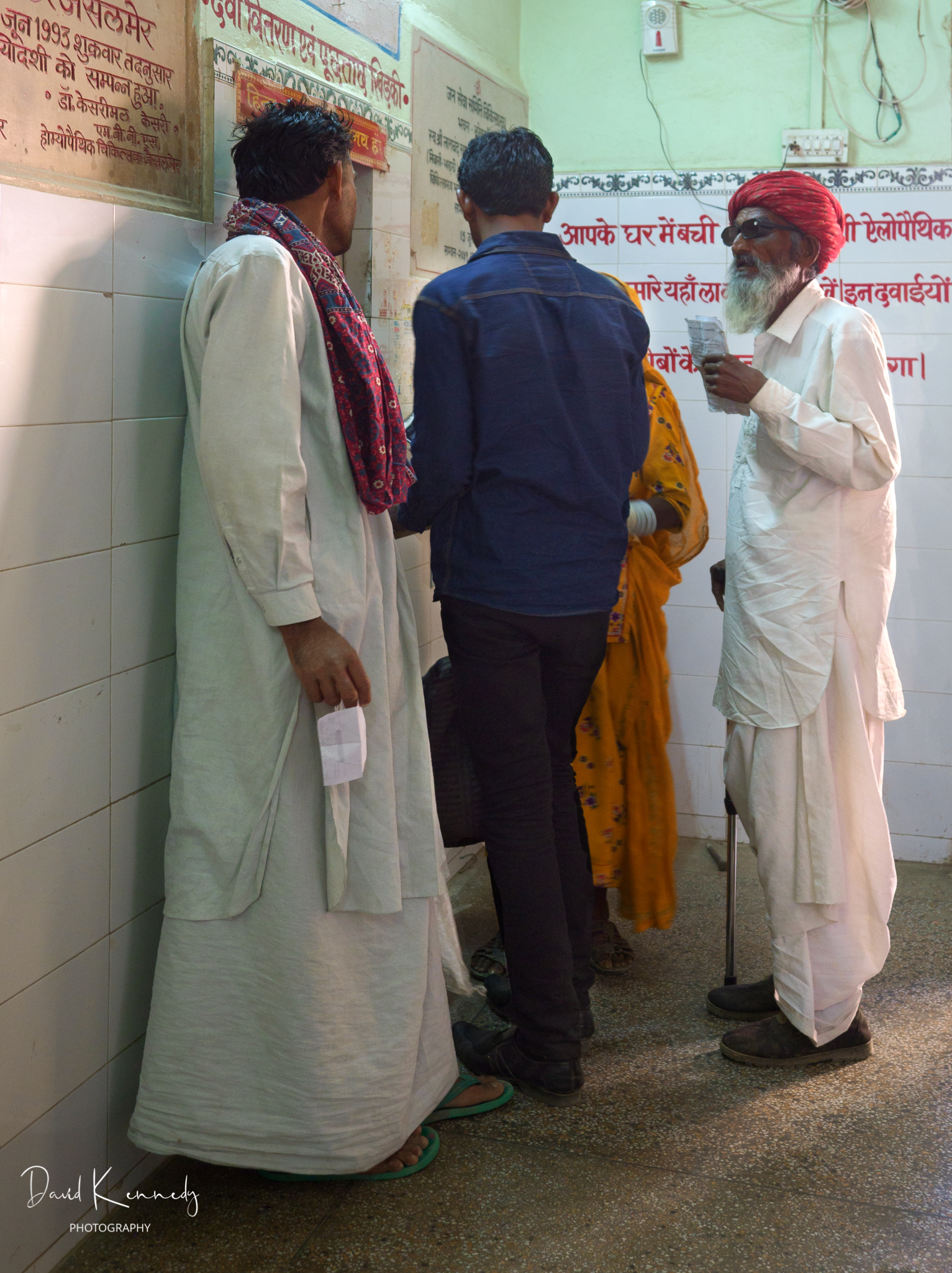 People gathered at the clinic reception