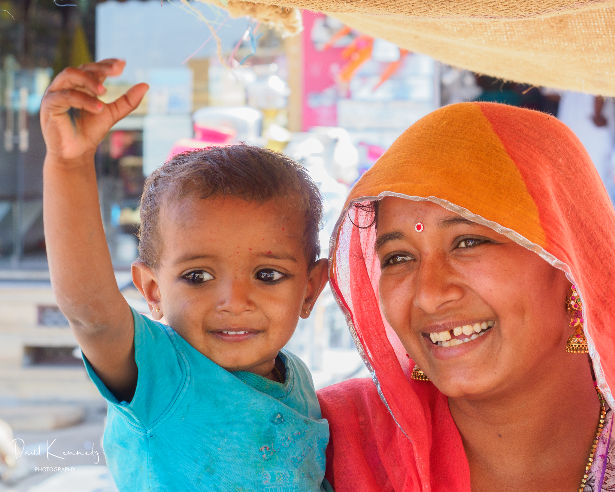 Woman with her young child in India